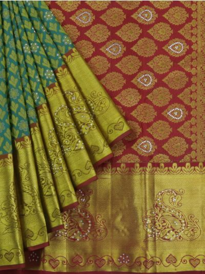 MJA6852283-Vivaha Wedding Stonework Pure Silk Saree
