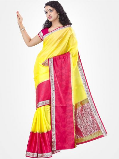 Mysore Silk Saree - Yellow with Pink -MCSS02