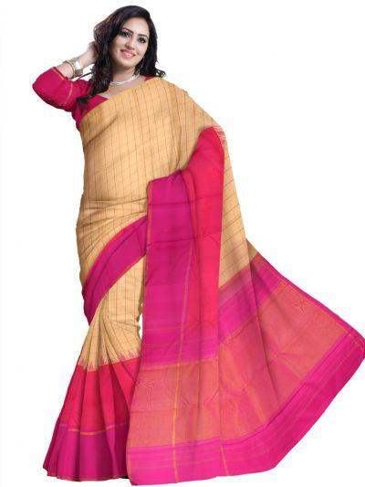 Estrila Kanchipuram Sandal Silk Saree - LJE2051964