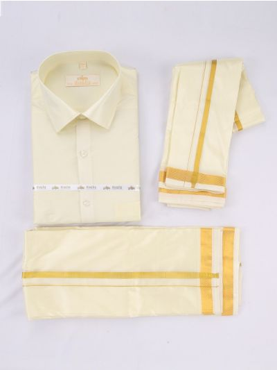 Vivaha Men's Art Silk Dhoti,Shirt and Angavastram