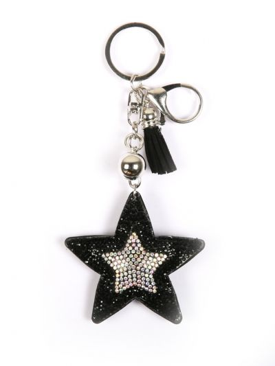 Black Star Key Chain With Black Color  With Stone and Silver Silve Ring - KCC03