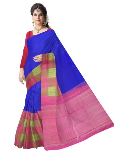 Estrila Kanchipuram Blue Silk Saree - LGC0562371