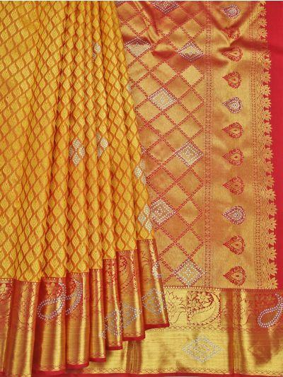 Goddess Vivaha Wedding Pure Silk Stone Work Saree - NJD1847083
