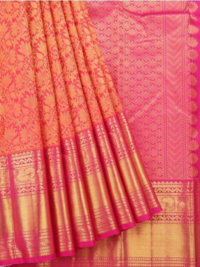 Vivaha Peach Wedding Pure Kanchipuram Silk Saree - NLA5078032