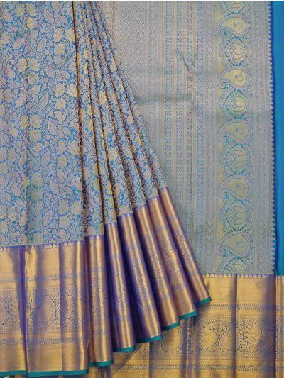 Vivaha Blue Wedding Pure Kanchipuram Silk Saree - OEC5173387