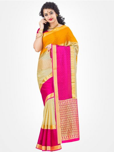 Mysore Silk Saree - Orange with Cream-MCSS04