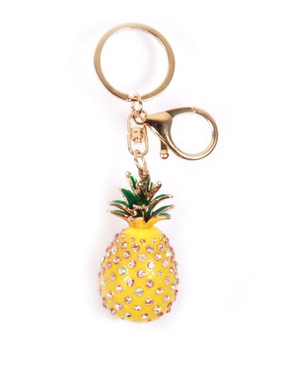 Pinapple Key Chain With Yellow with Multi Color Stone and GoldMetal Ring - KCC04