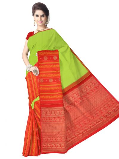 Estrila Kanchipuram Yellow Silk Saree - LGC0562370