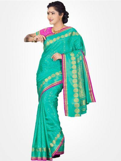 Cyan Mysore Silk Saree