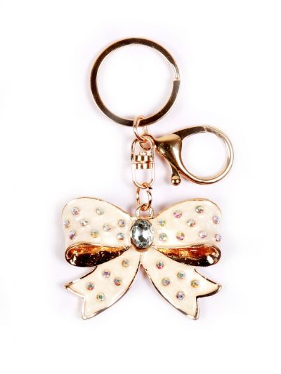 Flower Ribbon Key Chain With Crystal Stone  and Gold metal Ring - KCC05