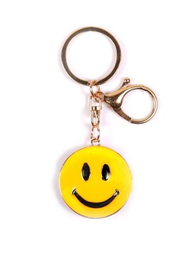 Smile Key Chain with Yellow color and Gold Metal Ring - KCC06