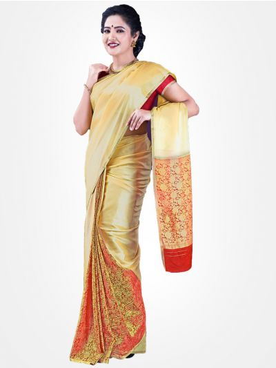 Mysore Silk Saree - Cream-MCSS08
