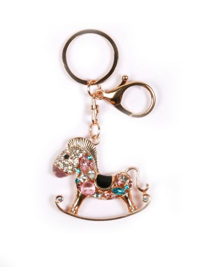 Seesaw Horse Key Chain With Multi Color Crystal Stone and Gold Metal Ring