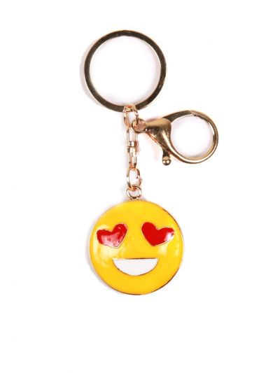 Heart Eyes Smile Key Chain With Yellow color and Gold Metal Ring - KCC09