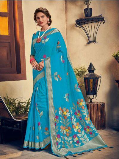 Kathana Embroidery Linen Cotton Saree