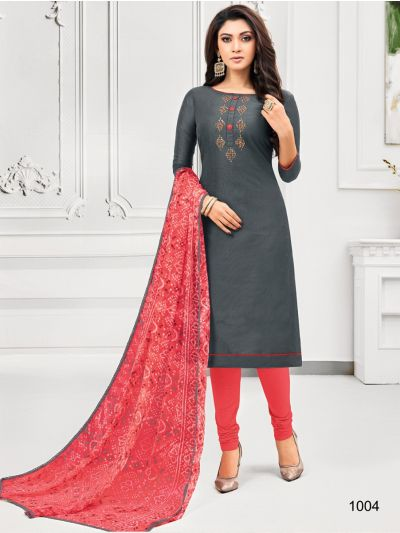 Isabella Women's Embroidered Cotton Dress Material