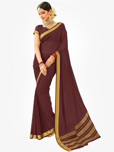 Semi Chiffon Fancy Saree-Maroon-SCFS1006