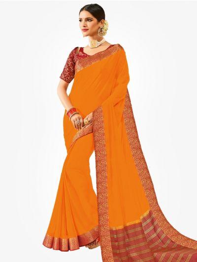 Semi Chiffon Fancy Saree-Orange-SCFS1008