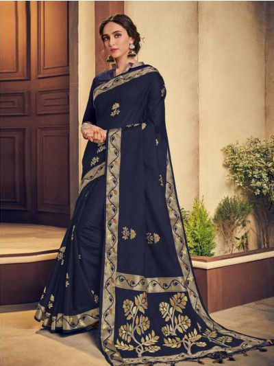 Kathana Embroidery Linen Cotton Saree - KCS1008