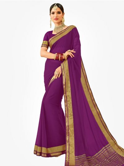 Semi Chiffon Fancy Saree-Violet-SCFS1009