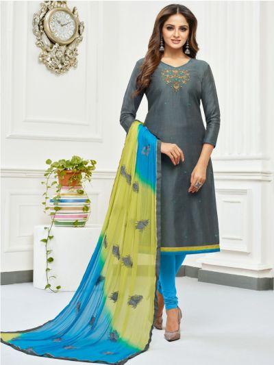 Isabella Women's Jharna Silk with Hand Work Dress Material-JSHWDM1009