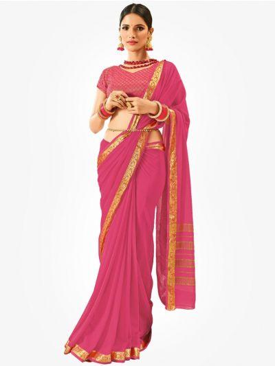 Semi Chiffon Fancy Saree-Pink-SCFS1011