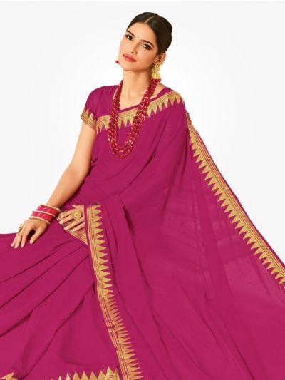 Semi Chiffon Fancy Saree-Pink-SCFS1014