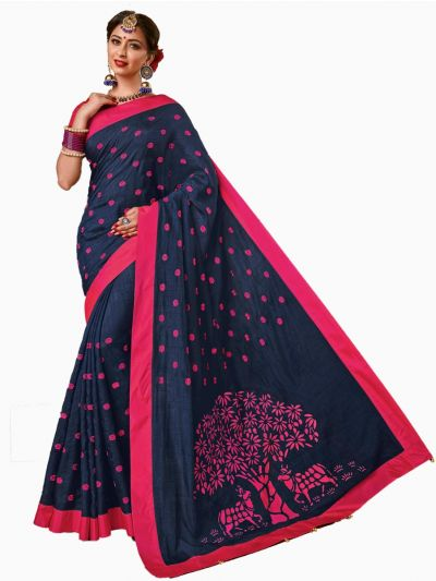 Party wear Sana Silk Blue Saree - PWSS101