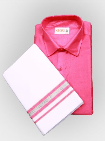 Art Silk Shirt with Cotton Dhoti Set - Pink-KKVC102