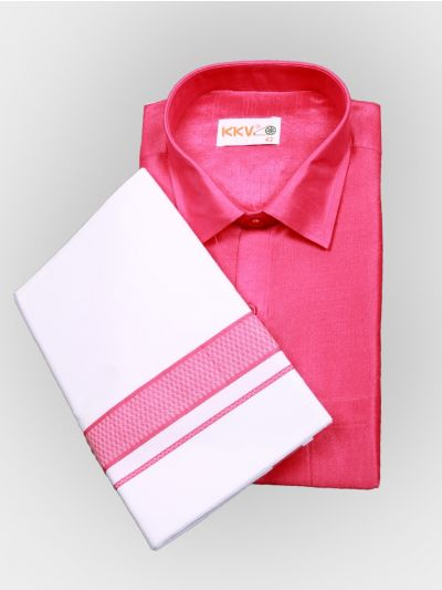 Art Silk Shirt with Cotton Dhoti Set - Pink-KKVC103