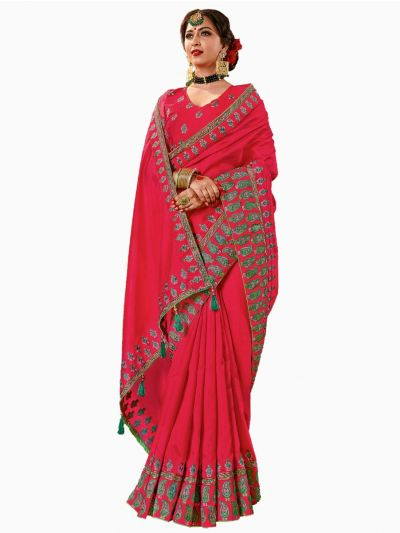 Party wear Sana Silk Magenta Saree - PWSS103