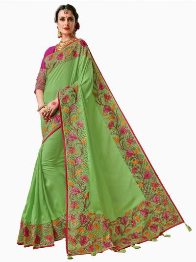 Party wear Sana Silk Green Saree - PWSS104