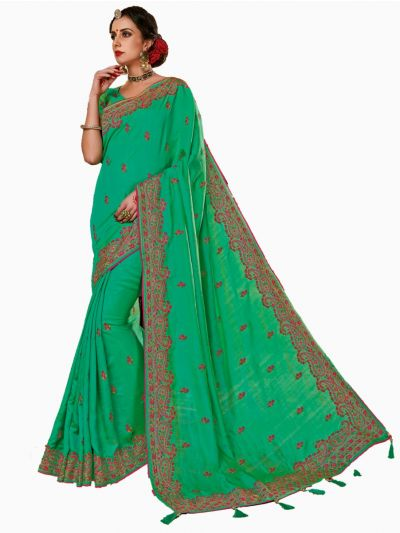 Party wear Sana Silk Green Saree - PWSS106