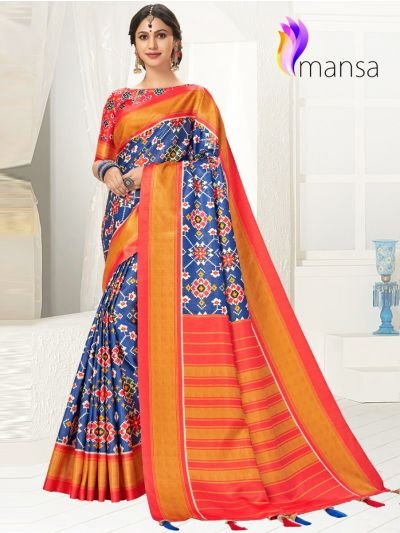 Mansa Fancy Art Soft Silk Saree