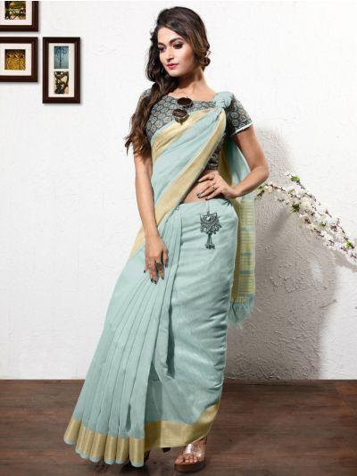Exclusive Linen Cotton Saree with Double Blouse