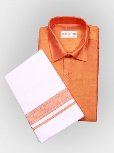 Art Silk Shirt with Cotton Dhoti Set - Orange-KKVC109