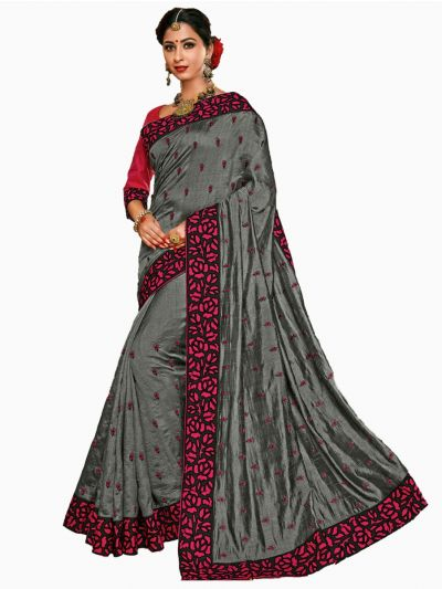 Party wear Sana Silk Grey Saree - PWSS109