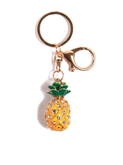 Small Pinapple Key Chain With Yellow Color Crystal Stone with Gold Metal Ring - KCC10