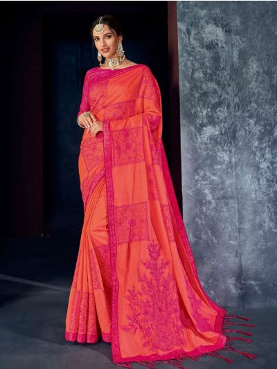 Kathana Fancy Raw Silk Embroidery Saree