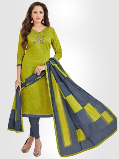 Slub Stripe Cotton Dress Material - Green- SSCDM11001