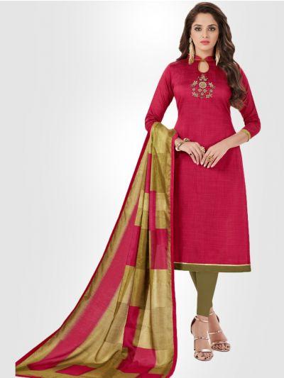 Slub Stripe Cotton Dress Material - Pink - SSCDM11002