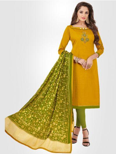 Slub Stripe Cotton Dress Material - Yellow- SSCDM11004