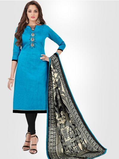 Slub Stripe Cotton Dress Material - Blue - SSCDM11005