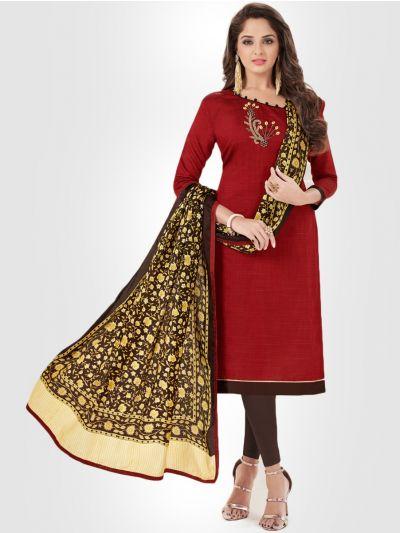 Slub Stripe Cotton Dress Material - Red - SSCDM11007