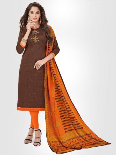 Slub Stripe Cotton Dress Material - Maroon - SSCDM11009