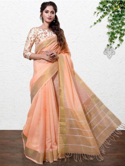 Kathana Fancy Linen Cotton Saree