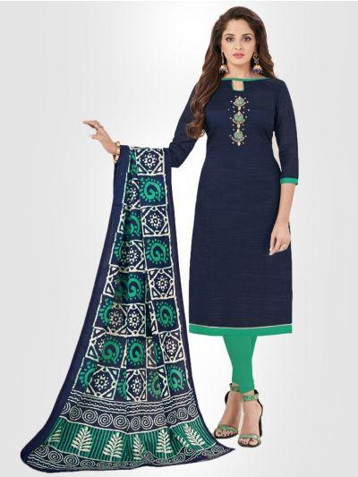 Slub Stripe Cotton Dress Material - Blue- SSCDM11010
