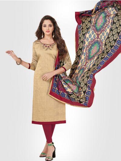 Slub Stripe Cotton Dress Material - Sandle - SSCDM11011