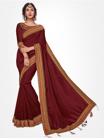 Party wear Maroon saree  - PWSE1102