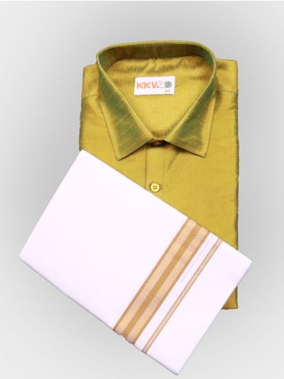 Art Silk Shirt with Cotton Dhoti Set - Green-KKVC110